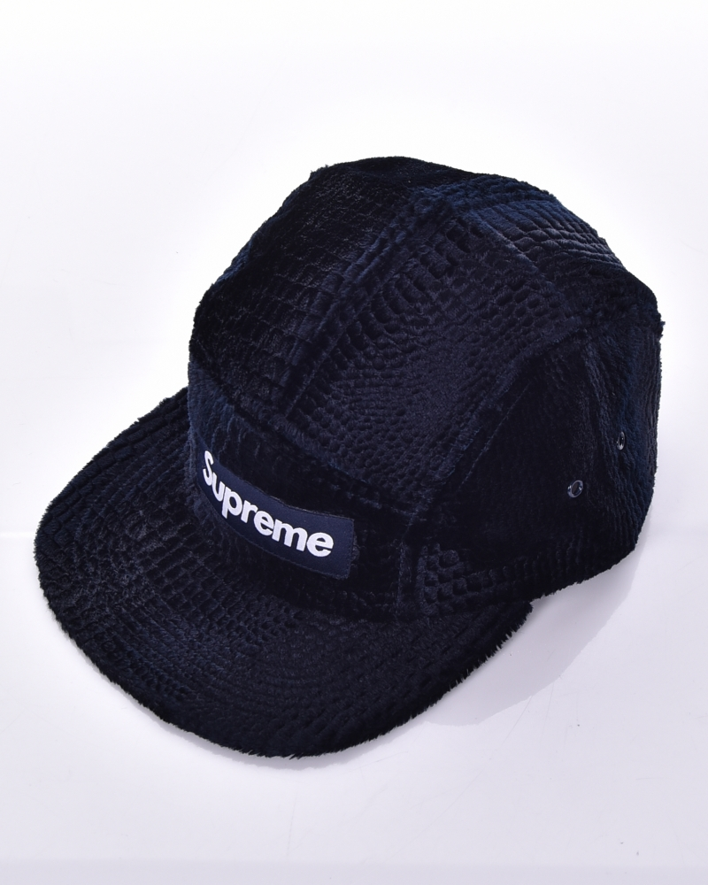 18b1274fa7d76 Supreme Croc Embossed Camp Cap (Navy)